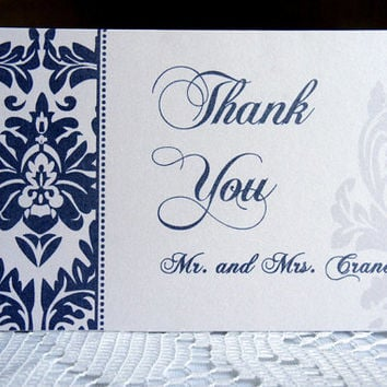 Elegant Thank You Cards - Wedding, Navy Blue, Damask, Formal, Classy, Personalized Thank You Cards, Blue, Customized - DEPOSIT
