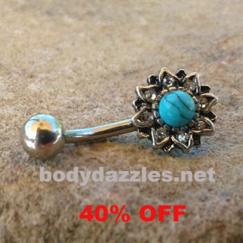 Turquoise Center Flowered Belly Button Ring Navel Ring Belly Piercing 14ga 316L Surgical Stainless Steel Body Jewelry Black Friday Cyber Monday