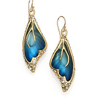 Lucite & Crystal Butterfly Wing Drop Earrings