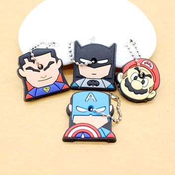 cute super hero Silicone Cartoon Key Cover batman spiderman Keychain face mario Pendant captain Key Chain porte clef for women