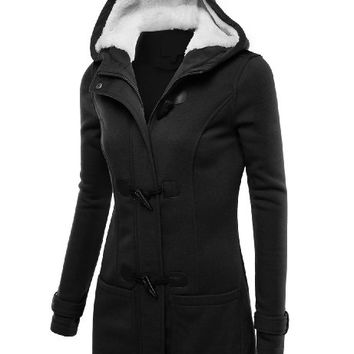 J.TOMSON Womens Toggle Hooded & Double Breasted Trench Coat BLACK S