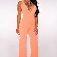 Pink Deep V-Neck Criss-cross Back Wide Leg Jumpsuit