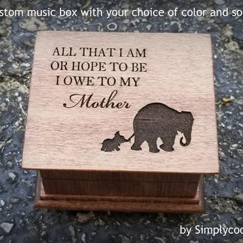 elephant family - baby elephant gift - Baby mine music box - Mother's day gift - wooden music box - gift for mom - personalized music box