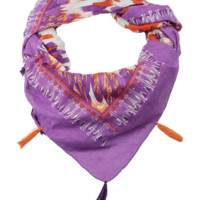 Feather Square Scarf - Purple