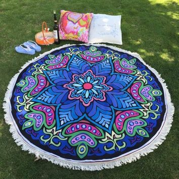 Round Blue & Red Psychedelic Flower Beach Tapestry