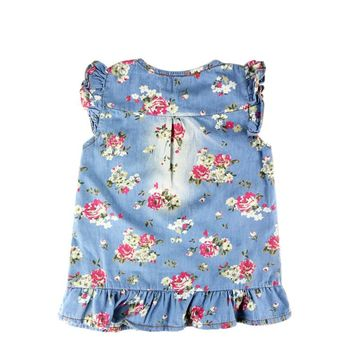Princess Summer Style Costume For Kids Clothes Floral Pleated Baby Denim Dress Girl Cute Kids Dresses For Girls