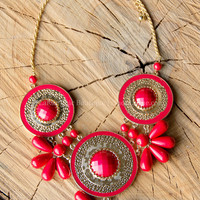 QUEEN OF THE NILE NECKLACE IN RED