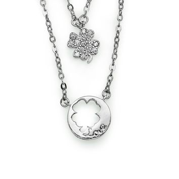 Double Layer Stackable Four Leaf CLover 925 Sterling Silver Necklace