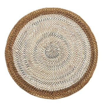 Shaded Rattan Placemat - S/2 White