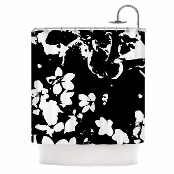 "Love Midge ""Helena Floral Black"" Floral Modern Shower Curtain"