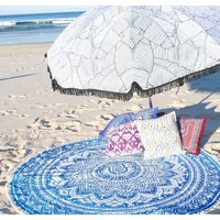 Blue Mandala Round Tapestry Roundies Beach Towel