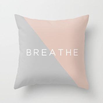 Throw Pillow Decorative Pillow Case Pink Grey Breathe Typography Triangle Mid Century Modern MinimalismDecor Made to Order Pillow 16x16