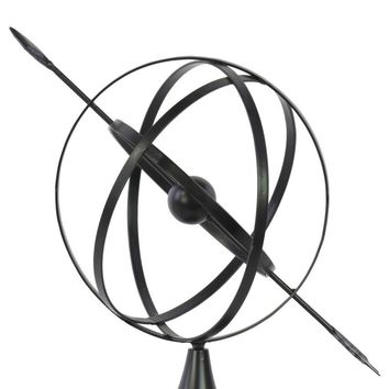 Metal Orb Dyson Sphere Design with Directional Arrow and Pedestal