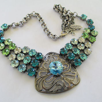 Swarovski 8mm and 14mm crystal statement necklace, antique silver, shades of blue, elegant and unique.