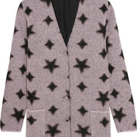 Saint Laurent - Metallic intarsia mohair-blend cardigan