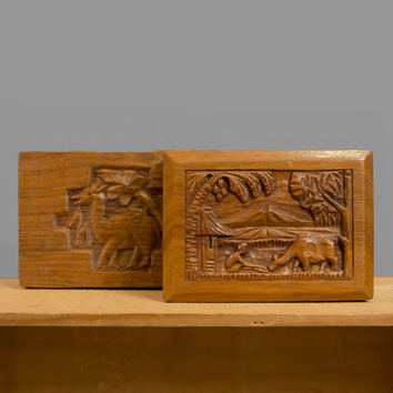 Vintage 1940s Ethnic Wood Box Set / 40s Hand Carved Wooden Boxes / Pastoral Tropical Landscape Carving
