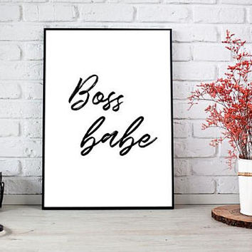 Boss babe, Printable art, Coworker gift, Boss gifts for women, Girly wall art, Instant download boss printable, Gift for her