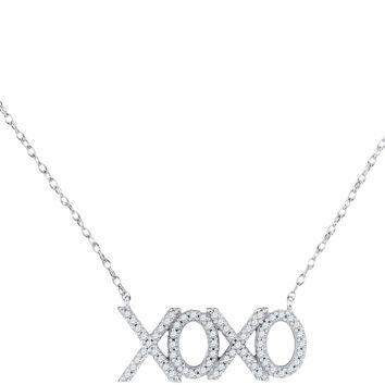 10kt White Gold Women's Round Diamond XOXO Hugs Kisses Letter Pendant Necklace 1-5 Cttw - FREE Shipping (US/CAN)