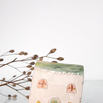 Pale Green Ceramic House with GOLD -  Little clay house Housewareas gift, New home gift - Small pottery house