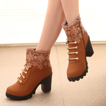 PU Round Toe High Block Heel Side Zipper Lace Flower Ankle Boots