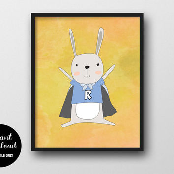 Rabbit Nursery Printable, Superhero Boy, Animal Kids Print, Baby Boy Wall Decor, Rabbit Woodland Art, Animal Nursery Decor, Kids Wall Art