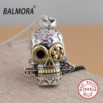 BALMORA 100% Real 925 Sterling Silver Jewelry Skull Pendants for Necklaces Women Men Accessories Gifts Silver Pendant SY13010
