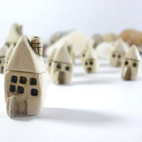 Rustic Beach cottage A set of tiny houses - miniature ceramic houses Home decoration Collection  Little houses tbteam