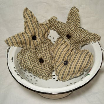 Primitive Lone Stars and Hearts Bowl Fillers - Set of 4