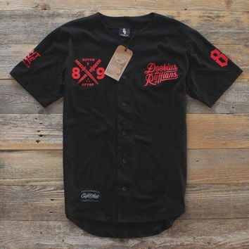 Doobious Ruffians Black Cotton Baseball Jersey Bred