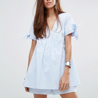 River Island Striped Tie Sleeve Babydoll Romper at asos.com