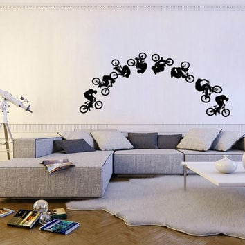 Ik106 Wall Decal Sticker Room Decor Art Mural Cycling BMX Cycle bike Jump in the Bedroom Interior