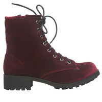 Velvet Combat Boot | Wet Seal