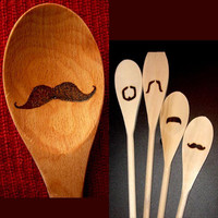 Moustache Wooden Spoons - Gift SET of 5