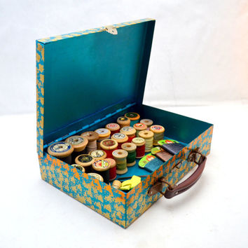 Vintage Gold and Turquoise Metal Sewing Box Filled with Japanese Silk Thread on Wooden Spools