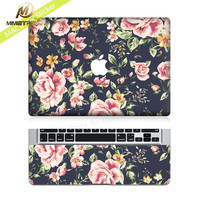 Mimiatrend Flower Protective Full-cover Vinyl Laptop Skin Decal Sticker Cover for Apple MacBook  Air Pro Retina 11 13 15 Inch
