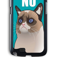 Samsung Galaxy Note 2 Case - Hard (PC) Cover with Cactus the Cranky Cat Plastic Case Design