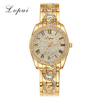 LVPAI Top Brand Gold Women Bracelet Watch Luxury Alloy Quartz Watches Women Fashion Luxury WatchWomen Dress Watches  LP102