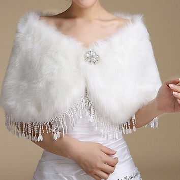 Wedding dress Wrap Ivory Fake fur shawl Bride stole Bridesmaid Cloak Boleros Women's Shrug Winter coat Jacket Cape tassels Warm = 1929823876