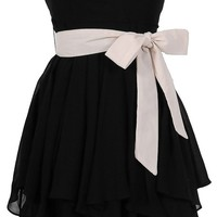 Ruffled Edges Chiffon Designer Dress in Black/Ivory - WHAT'S NEW