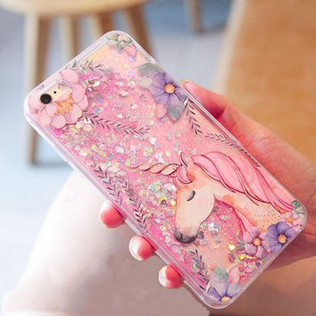 Case For iPhone 8 8Plus 7 7Plus X 10 Glitter Quicksand Case Cover For iPhone 6 6s 6Plus Hard Plastic Capa iPone Cartoon Coque