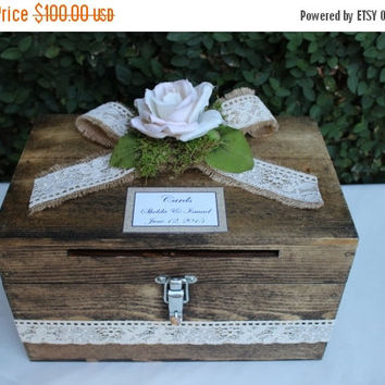ON SALE Wedding Card box Cardholder / Wooden Lockable Cardholder Box / Box with Slot / Rustic Wedding Decor