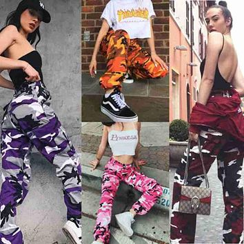 Womens Fashion Camo Cargo Trousers Casual High Waist Loose Pants Military Army Combat Camouflage Jeans