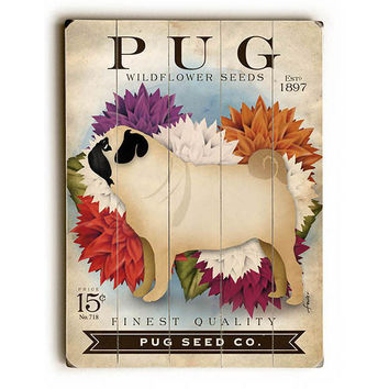 Pug Seed Packet by Artist Stephen Fowler Wood Sign