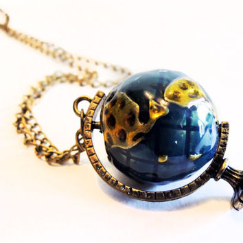 Long Globe Pendant Necklace - Antiqued Brass Chain - World Map Necklace - Globe Charm