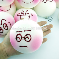 1PCS 10CM Jumbo DIY Expression Squishy Soft White Body Pink Face Bread Scented Phone Charms Bun Straps