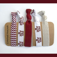 Texas A&M Elastic HAIR TIES Aggies, Print, Maroon and White Chevron - 5 No Tug Yoga, College Football Fan