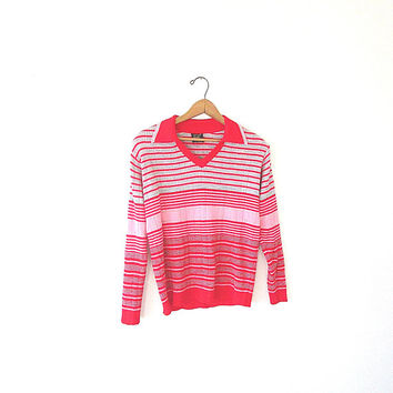 Vintage 60's Red & Pink VALENTINE'S DAY Retro Striped Collared V Neck 100% Virgin Acrylic Pullover Sz M