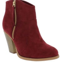 """Romane"" Suede Cowboy Zip Up High Heel Ankle Booties - Wine"