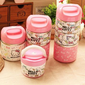 Cute Hello Kitty Stainless Steel Insulation Lunch Box Outdoor Portable 1-3 Layers Thermo Thermal Bento Box Kids Food Container