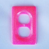 Hot Pink Glitter Resin Wall Light Switch Cover / Plate